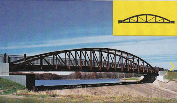 A bow-string Pratt truss bridge similar to the one proposed to replace the farmers bridge east of Clutes.