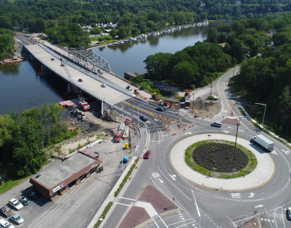 Traffic open two lanes in both directions over the new Rexford Bridge.