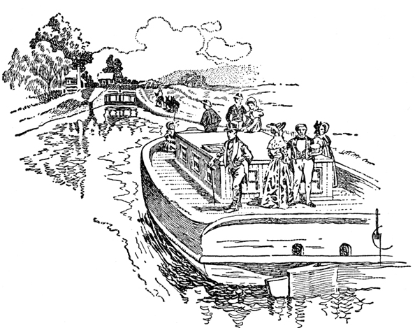Early Canal Boat w/ Passengers