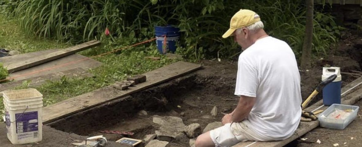 Dan Bradt working on an archaeologic dig in Schenectady's Stockade. Gazette Photo by Peter Barber.